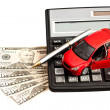 Stock Photo: Toy car, money and calculator over white. Concept for buying, re