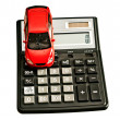 Toy car and calculator. Concept for buying, renting, insurance, — Stock Photo #24686389