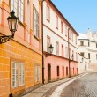 Stock Photo: Beautiful street in Prague, picture made in winter