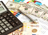Money, financial graphs and other business or stock stuff — Stock Photo
