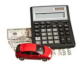Toy car and money over white. Rent, buy or insurance car concept — Foto de Stock