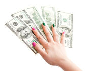 Woman hand holding 100 US dollar banknotes, isolated on whit — Stock Photo