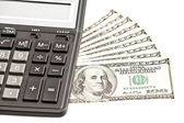 Business picture: money and calculator over white — Foto de Stock