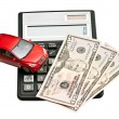 Toy car and calculator. Concept for buying, renting, insurance, — Stock Photo #27543961