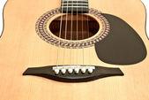 Foto di chitarra acustica, isolato su sfondo bianco — Foto Stock
