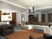 3d render of a modern interior.exclusive design — 图库照片