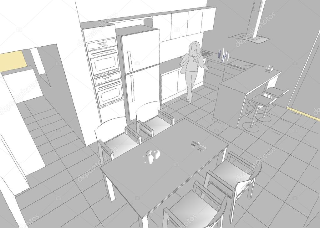 Innenarchitektur modern skizzen  Moderne Innenarchitektur. Küche — Stockfoto © yu_tsai #42125857