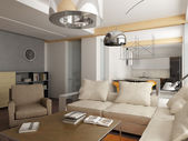 Modern interior.exclusive tasarım 3d render — Stok fotoğraf