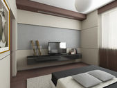 Modern interior. Bedroom. — Foto de Stock