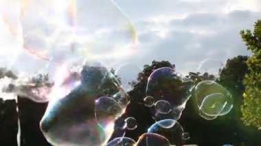 Big soap bubbles in levitation — Stock Video