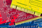 Close up of some computer microcircuit — Stock Photo