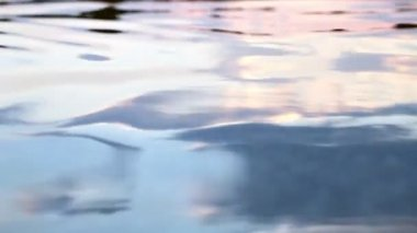 From dusk colored water surface in motion by gentle waves — Stock Video