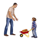 Father and son at work — Stock Photo