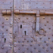 Old and rusty door with many keyholes — Stock Photo