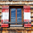 Old wooden window with shutters — 图库照片