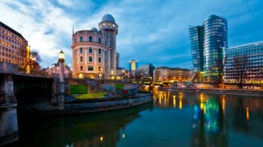 Time lapse of the Danube Canal of Vienna — Stock Video