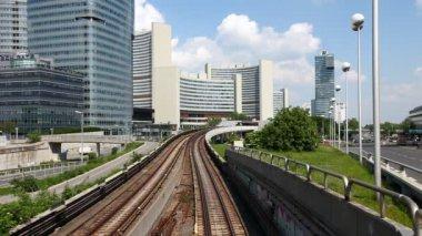 Time Lapse of the skyline Uno City Vienna with underground railway — Stock Video