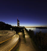 Vienna with the Danube River at night — Stock Photo