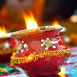 Decorated fire lamp - Stock Photo