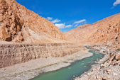 River flowing in barren mountains — Stock Photo