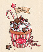 Christmas and New Year Cupcake — Stock Photo