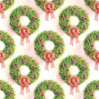 Stock Photo: Watercolor pattern Christmas wreath