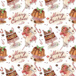 Watercolor pattern with Plum Pudding and Milk and cookies for Santa — Stock Photo