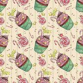 Watercolor Christmas Cupcakes. Watercolor pattern — Stock Photo