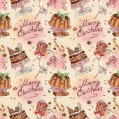 Akvarell mönster med plumpudding och mjölk och kakor för santa — Stockfoto