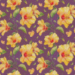 Seamless pattern with yellow hibiscus flowers. — Stock Photo #38393463