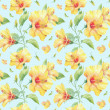 Seamless pattern with yellow hibiscus flowers. — Stock Photo #38393465