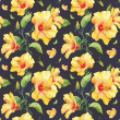 Seamless pattern with yellow hibiscus flowers. — Stock Photo
