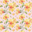 Seamless pattern with yellow hibiscus flowers. — Stock Photo #38393515