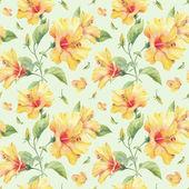 Naadloze patroon met gele hibiscus bloemen. — Stockfoto