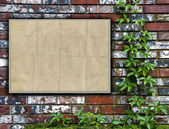 Brick Wall With Bulletin Board — Stock Photo