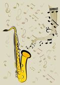 Saxophone and notes — Stock Vector