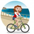 Young woman on bike — Stock Vector