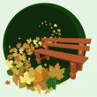 Wooden bench and leaves — Stock Vector