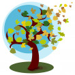 Tree with autumn leaves — Stock Vector