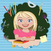 Little girl student — Stock Vector