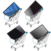 Shopping Shopping cart with flat screen TV — Stock Vector