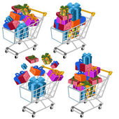 Shopping cart with gifts — Stock Vector