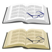 Open book and reading glasses — Stock Vector