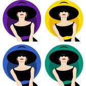 Femme avec chapeau — Vecteur