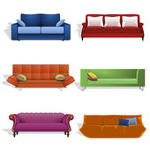 Sofas in different colors and designs — Stock Vector