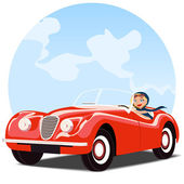 Girl in old red convertible car — Stock Vector