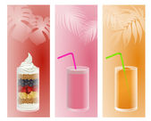 Fruit smoothie and iced — Stock Vector