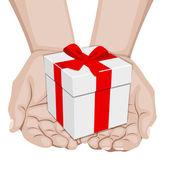 Manos ofreciendo regalo — Vector de stock
