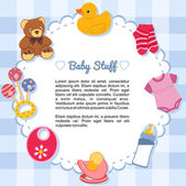 Baby items forming a frame — Stock Vector