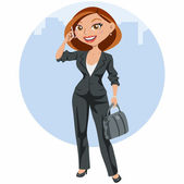 Elegant business woman speaking by mobile — Stock Vector